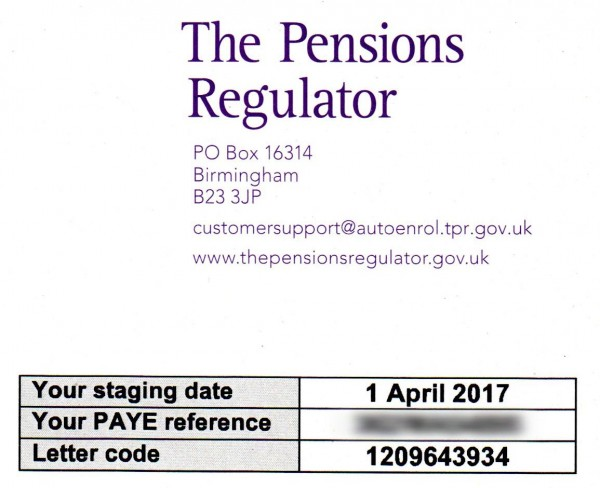 example of pension regulator letter
