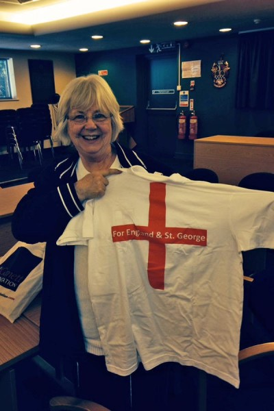 Chamber secretary Jean Pritchard with St George themed polo shirt