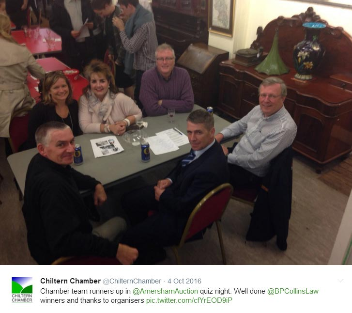 Chiltern Chamber quiz team, runners up in Amersham Auction Rooms 2016 Quiz