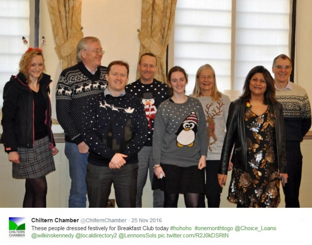 Festive sweaters at pre-Christmas Chiltern Chamber Breakfast Club, Amersham