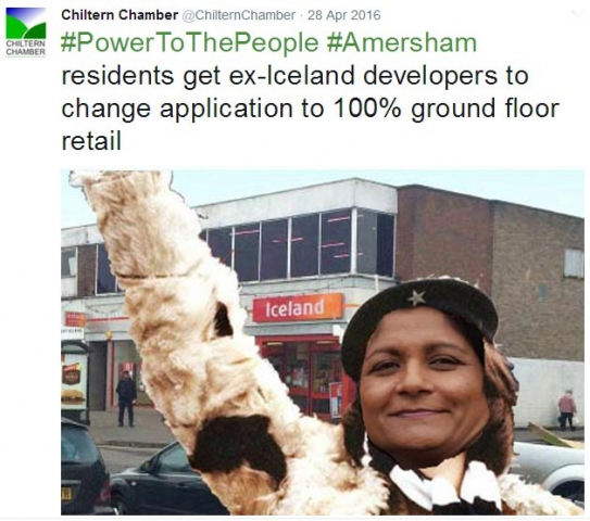 Chiltern Chamber Chair Vee Bharakda hails the vistory of Amersham residents re former Iceland site - with a little help from Photoshop!