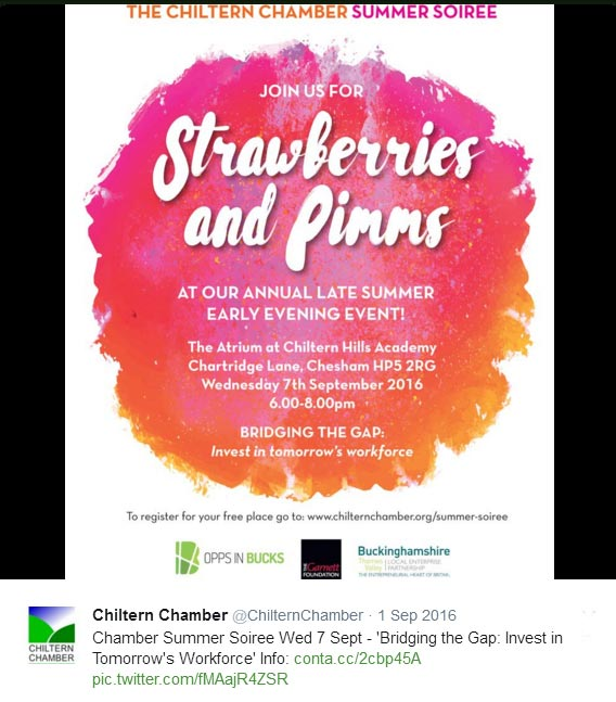 Invitation to Chiltern Chamber 2016 Summer Soiree