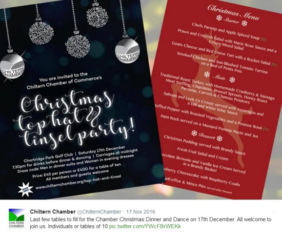 Invitation to Chiltern Chamber 2016 Christmas party