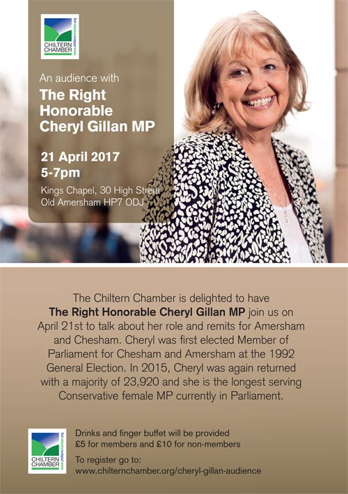 poster for chiltern chamber audience with cheryl gillan
