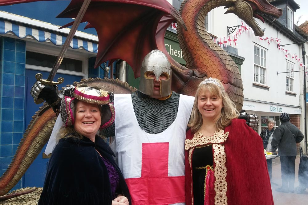 Deputy mayor Emily Culverhouse and Cllr Jane MacBean with St George Chesham 2017