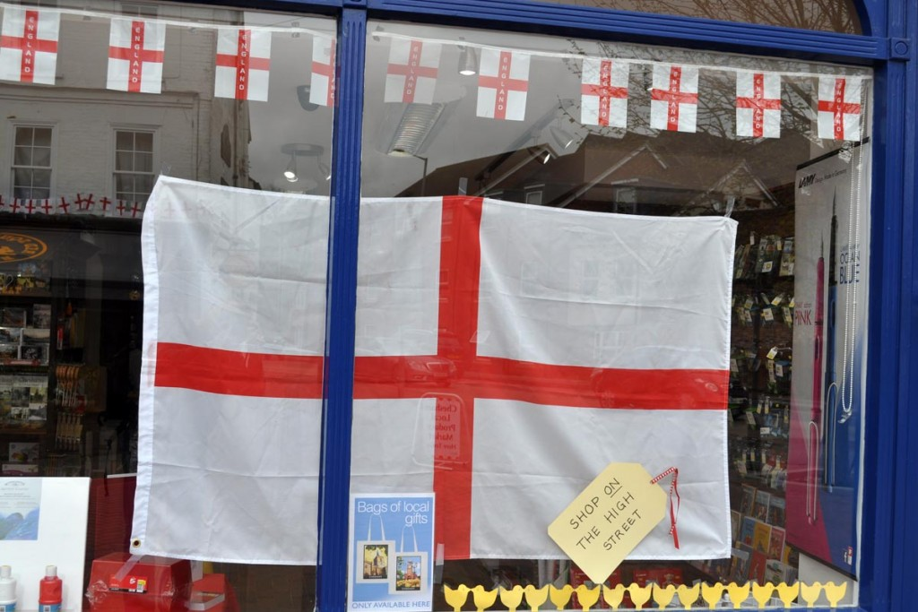 JPS Stationers Chesham decorated window St Georges day 2017