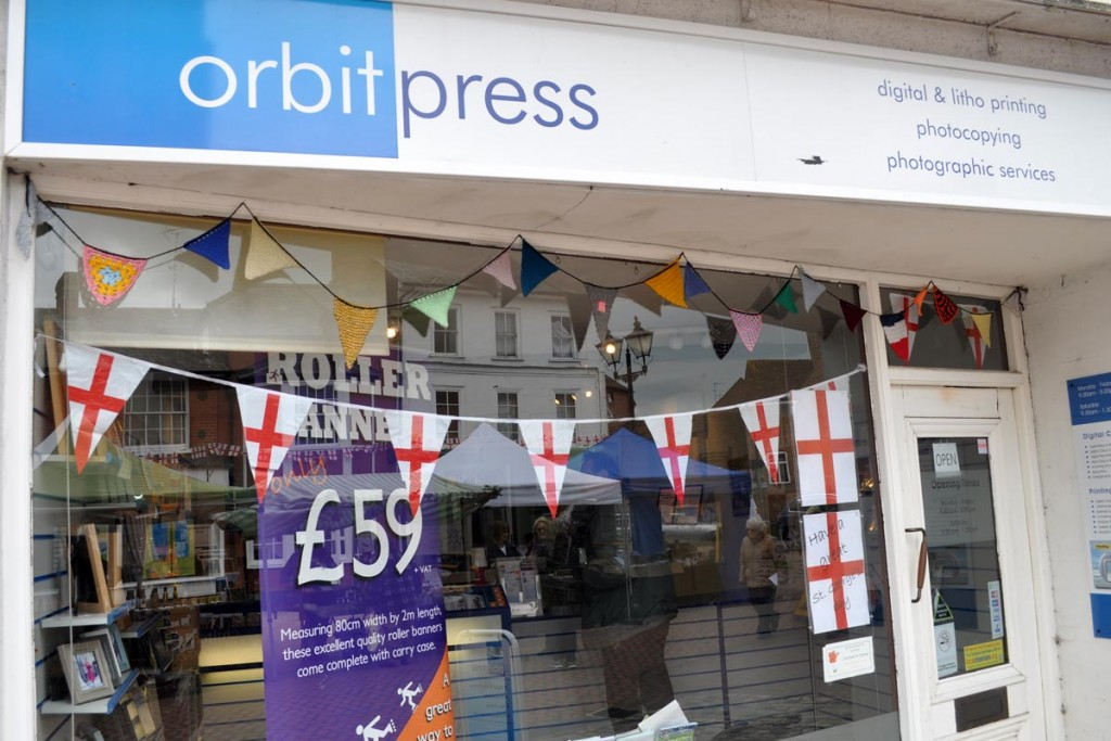 Orbit Press Chesham St Georges Day window display