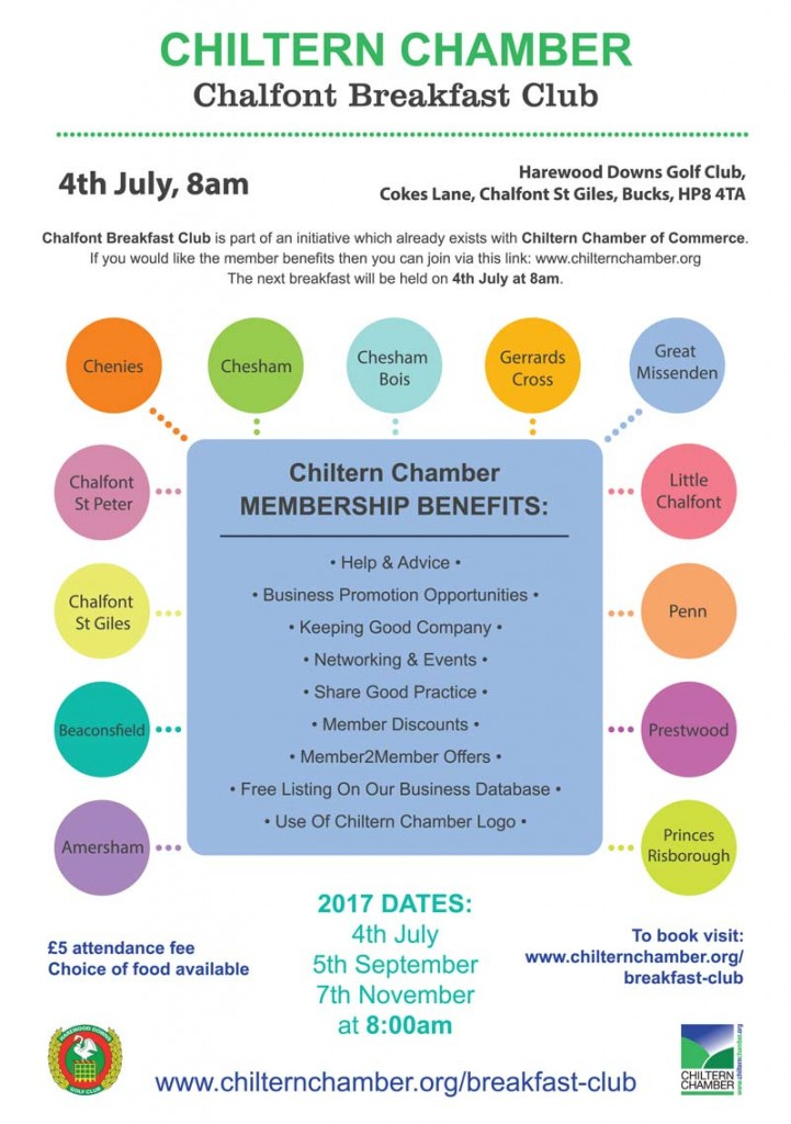 flyer for chiltern chamber chalfont breakfast club