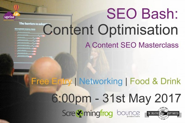 Poster for SEO content optimisation evening